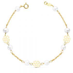 Pulsera Oro Perla 17 cm.
