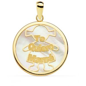 Colgante Oro Nácar Mamá 20 mm.