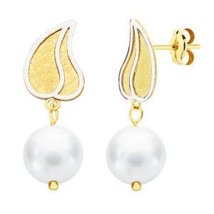 Pendientes Oro Perla 24 x 8 mm.