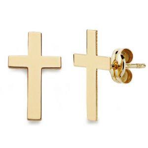 Pendientes Oro Cruz 12 x 7mm