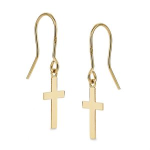 Pendientes Oro con Cruz Lisa 12x7mm