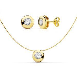 Juego Oro Pendientes + Collar 7mm.