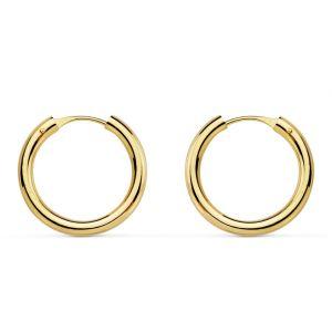 Pendientes Oro Aro 16 x 2 mm.