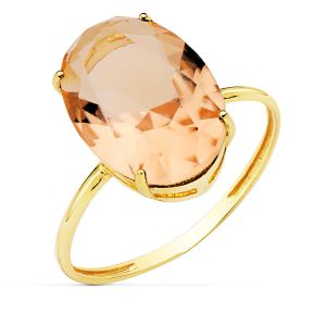 Anillo Oro Piedra Color 14 x 10 mm