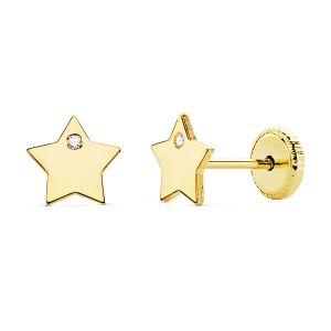 Pendientes Oro Estrella 6 mm.