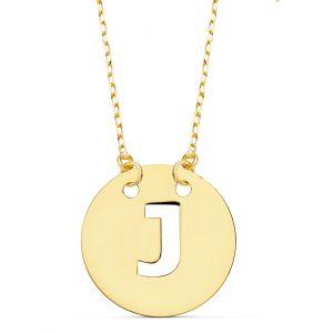 Cadena + Colgante Oro Inicial J 15 mm.