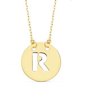 Cadena + Colgante Oro Inicial R 15 mm.
