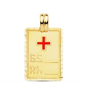 Colgante Oro PLaca RH 24 x 17 mm.