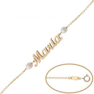 Pulsera Oro Nombre + Perlas