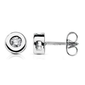 Pendientes Oro y Diamantes 6,5 mm.