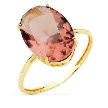 Anillo Oro Piedra de Color 14 x 10 mm.