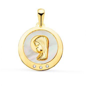 Medalla Oro Nácar 14 mm.