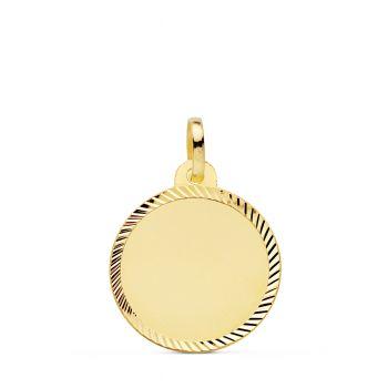 Colgante Oro Disco Liso 18 mm.