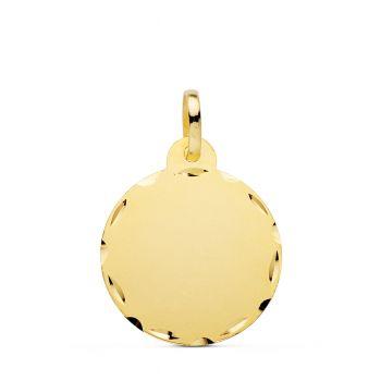 Colgante Oro Disco Liso 20 mm.