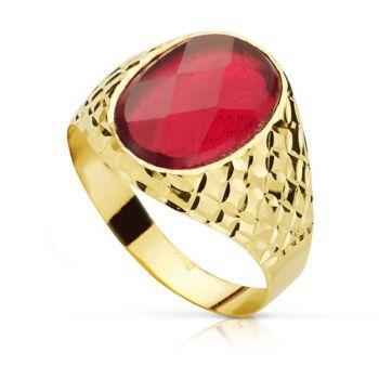 Anillo Oro 9 kt. Sello Piedra Roja