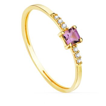 Anillo Oro Amatista y Diamantes