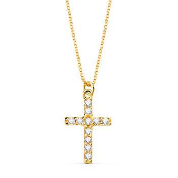 Cadena + Cruz Oro Diamantes