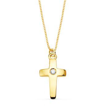 Cadena + Cruz Oro y Diamante