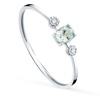 Anillo Oro Blanco Diamantes y Agua Marina