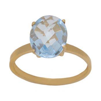 Anillo Oro Piedra Color 8 x 10 mm.