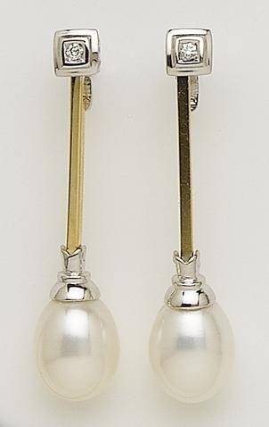 7a6d29b40514 Pendientes Oro Perla y Diamantes