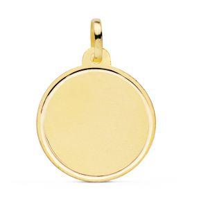 Medalla Oro Lisa Grabada Laser