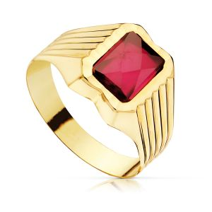 Anillo Oro Rubí Spinel 8 x 6 mm.