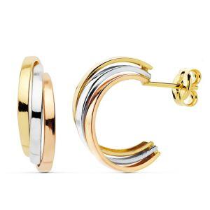 Pendientes Oro Tricolor 15x5mm.