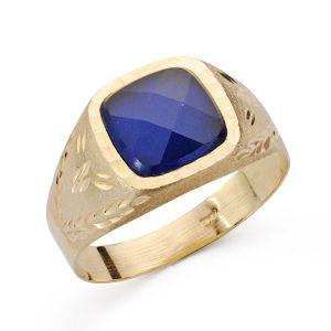 Anillo Oro 9 kt. Piedra Azul