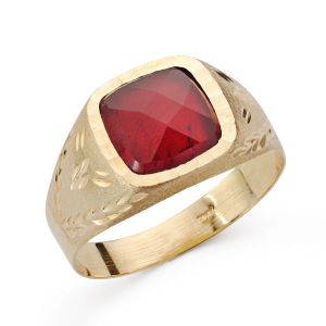 Anillo Oro 9 kt. Piedra Roja