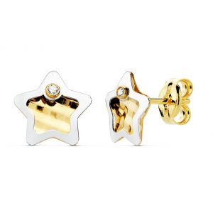 Pendientes Oro Bicolor 7,5 x 7,5 mm