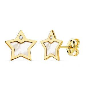Pendientes Oro Estrella 8 mm.