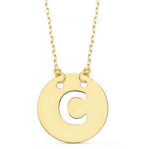 Cadena + Colgante Oro Inicial C 15 mm.