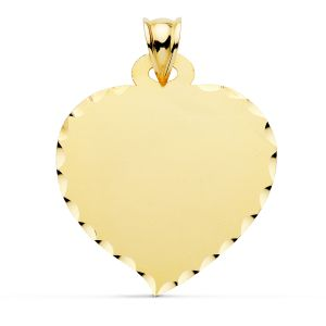 Placa Oro 9k Corazón 26 x 23 mm.