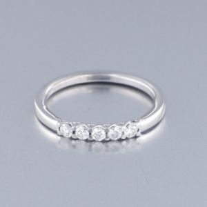 Anillo Oro Blanco con 5 Diamantes