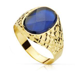 Anillo Oro 9 kt. Sello Piedra Azul