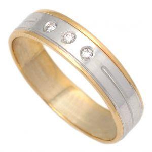 Anillo Oro Bicolor Diamantes 5 mm.