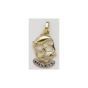 Colgante Oro Horóscopo Piscis con Diamante