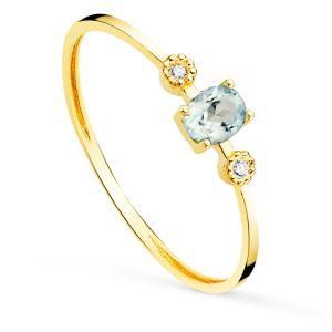 Anillo Oro  Diamantes y Agua Marina