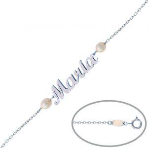 Pulsera Oro Blanco Nombre + Perlas